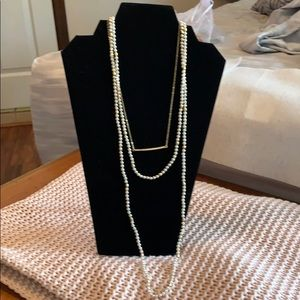"Tri-tiered 16""-18""-32"" pearl and gold necklace"